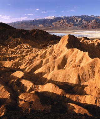 Scenic view of Death Valley sand dunes and mountains